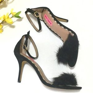 Betsey Johnson Sandals W/ Feather Detail